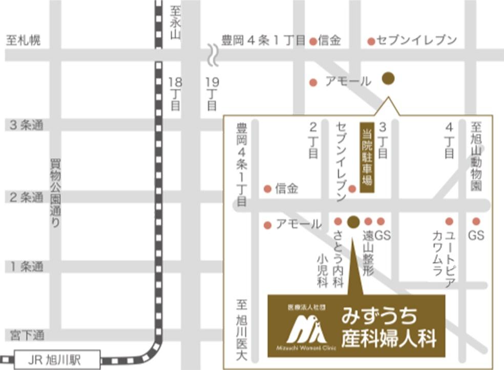 イラストマップ 旭川駅から車で10分 / 旭川四条駅から車で5分